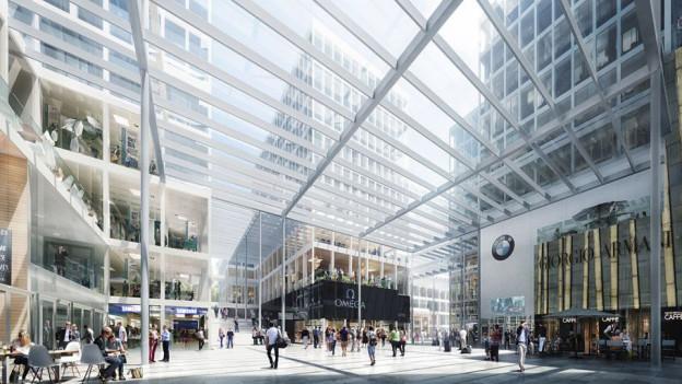 Visualisierung des Bauprojektes «The Circle» am Zürcher Flughafen.