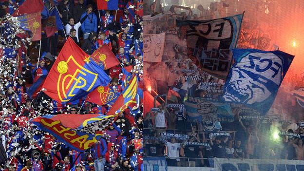 Fans des FC Basels und FC Zürichs im Stadion
