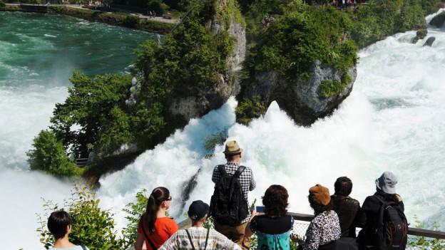 Touristen stehen auf einem Balkon hoch über dem tosenden Rheinfall.