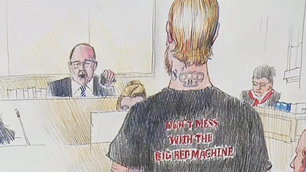 Neonazi vor Gericht (Gerichtszeichnung).