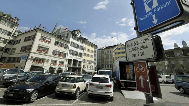 Parkplätze in der Zürcher Innenstadt.