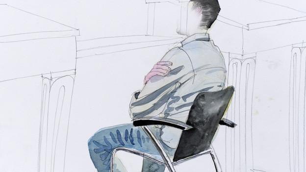 Gerichtszeichnung: Der Angeklagte am Bezirksgericht Zürich.
