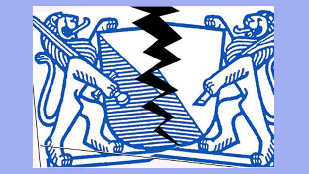 Ein Zürcher Wappen, in der Mitte getrennt.