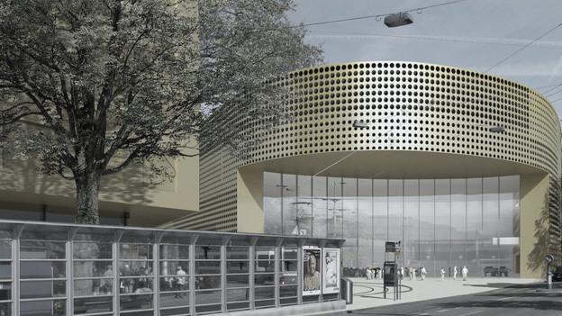 Visualisierung des Kongresszentrums auf dem Carparkplatz.