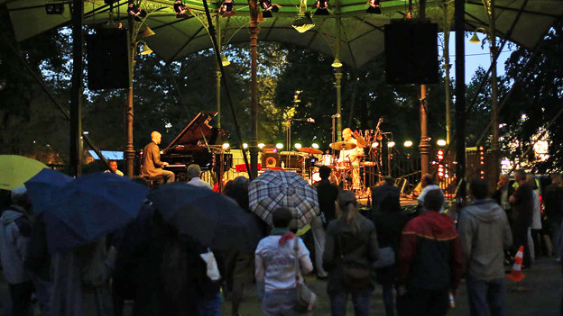 Regenschirme im Publikum: Das verregnete Konzert von Mantel & Kantelinen auf dem Platzspitz.