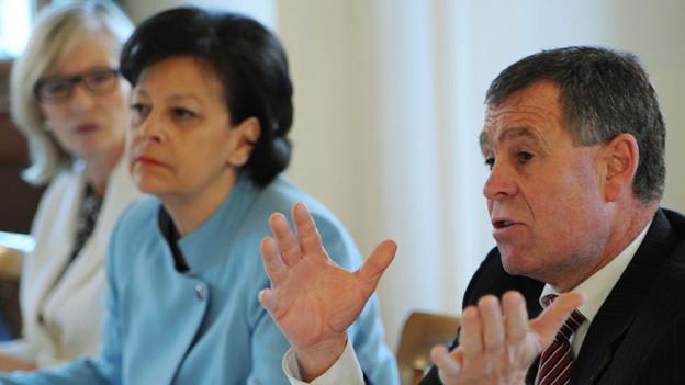 Zürcher Regierungsräte: Regine Aeppli(SP), Ursula Gut (FDP), Ernst Stocker (SVP)