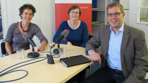 Die drei Kandidaten im SRF-Studio Schaffhausen.