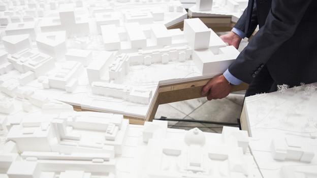 Modell des Masterplans für das Hochschulquartier.