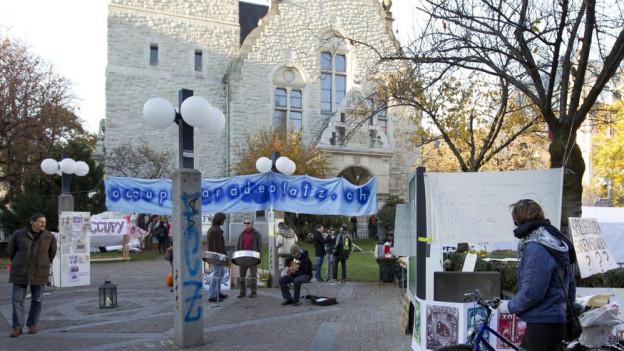 November 2011: Occupy Bewegung genoss ebenfalls Gastrecht am Stauffacher.