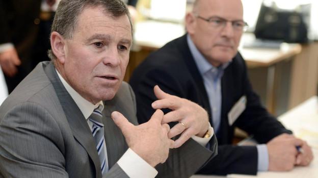 Amtskollegen: Ernst Stocker und Winfried Hermann beim ersten Treffen im März 2014 in Zürich