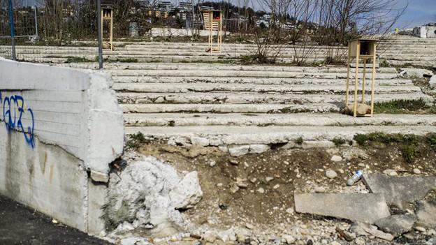 Überbleibsel des abgerissenen Hardturmstadions