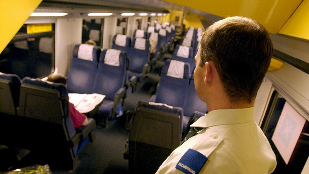 Ein Securitas-Angestellter in einer Zürcher S-Bahn.