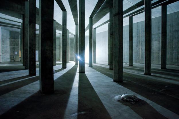Blick in eine leere Kammer des Reservoirs Lyren in der Stadt Zürich