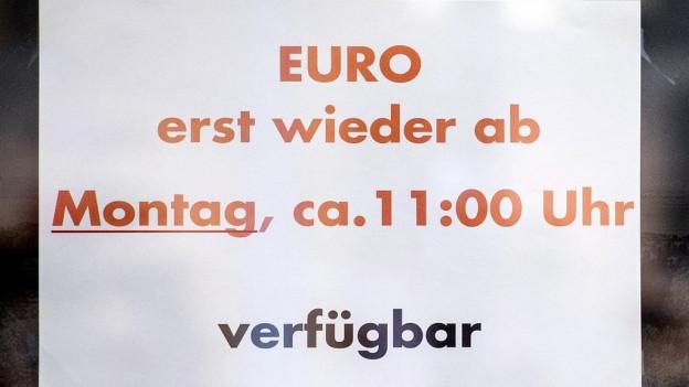 Am Tag des SNB-Entscheids war der Euro auch in Zürich ausverkauft.