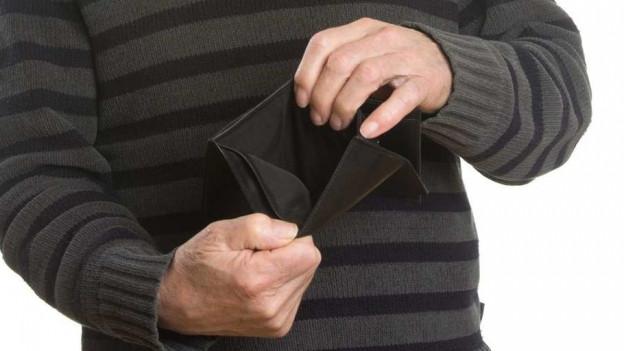 Ein leeres Portemonnaie