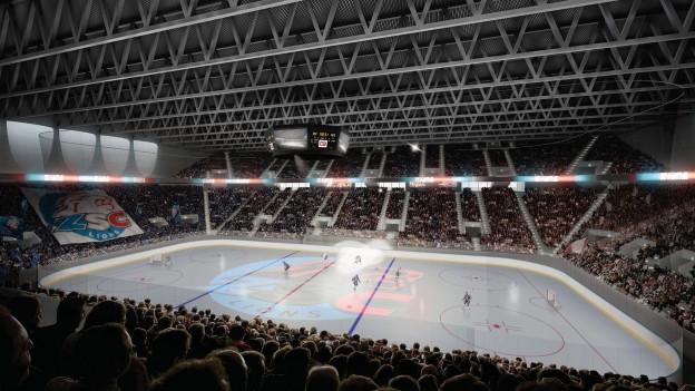 Visualisierung des Eishockeyfeldes im geplanten neuen Stadion in Zürich.