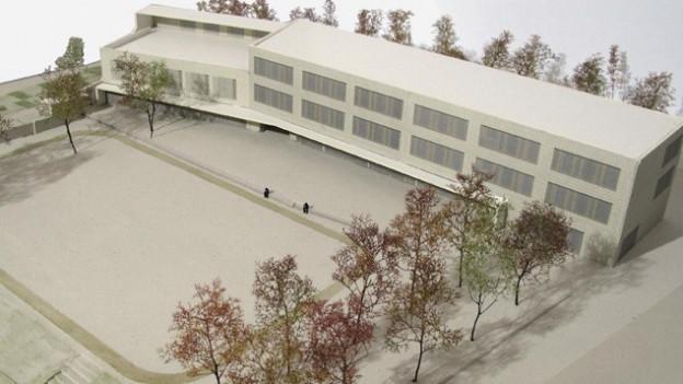 Modell des geplanten Schulhauses an der Pfingsweidstrasse