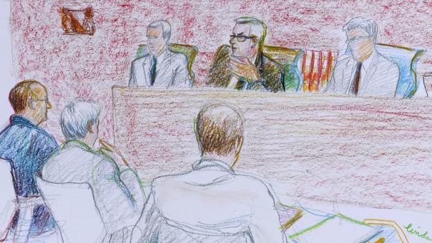 Illustration des Angeklagten im Zuercher Obergericht, links aussen