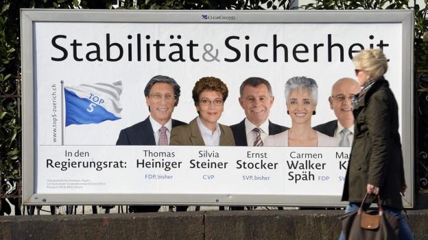 Wahlplakat mit 5 Köpfen