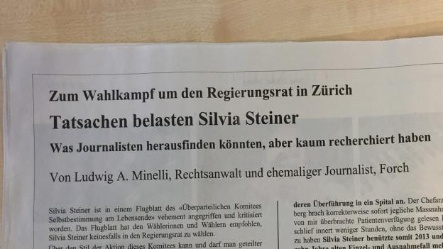 Das Anti-Steiner-Inserat in der NZZ