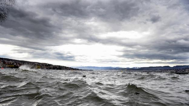 Wellen auf dem Zürichsee wegen Sturm Niklas.