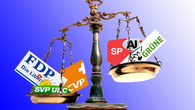 Waageschalen mit den Logos der Parteien