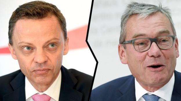 Hans-Ueli Vogt (links) und Ruedi Noser, welche für die Zürcher Ständeratswahlen kandidieren.
