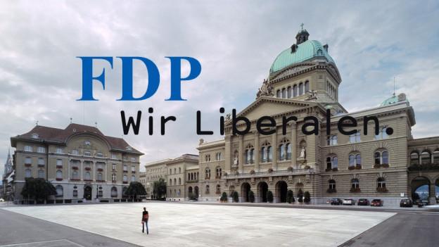 Logo der FDP vor dem Bundeshaus in Bern