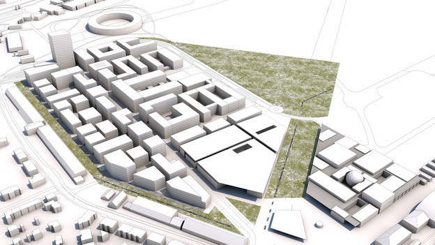 Der geplante Innovationspark im Modell.