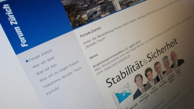 Startseite des Webauftritts des Forums Zürich