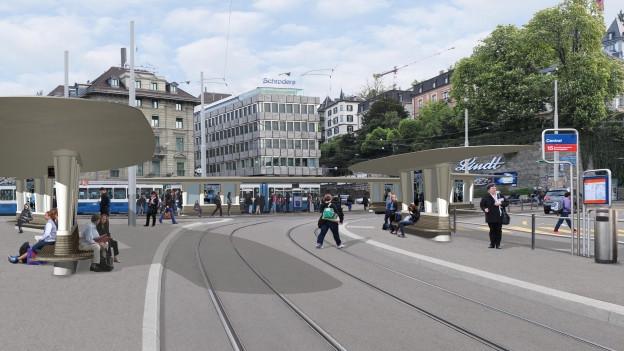 Visualisierung der neuen Tramhaltestelle am Central - neu überdacht und länger.