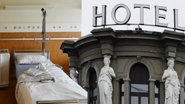 Bildmontage eines Spitalbettes neben einem Hotel.