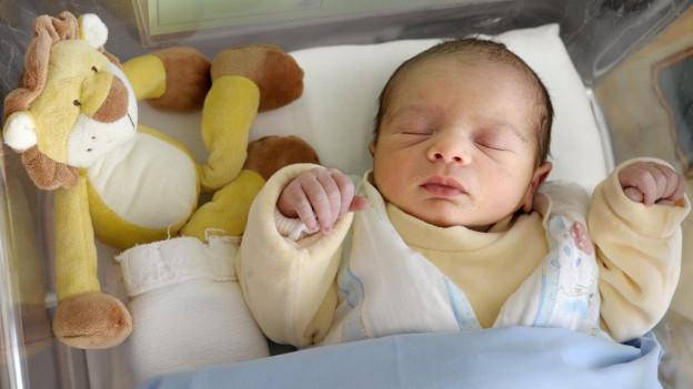 Ein Neugeborenes liegt im Bettchen.
