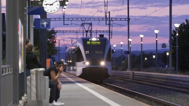Ein Zug fährt in einen Bahnhof ein.