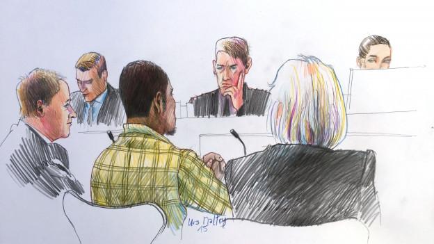 Szenerie im Gerichtssaal, festgehalten vom Gerichtszeichner