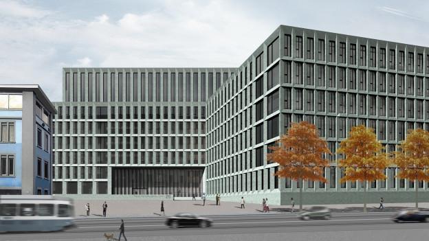 Eine Visualisierung des neuen Zürcher Polizei- und Justizzentrums.