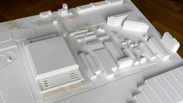Das Modell der geplanten Eishockey-Arena