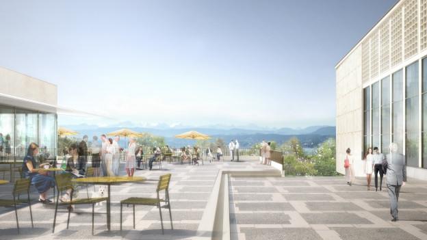 Aussicht auf Berge und See: das neue Kongresshaus-Restauran