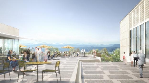 Von der neuen Restaurant-Terrasse geht der Blick über Berge und See.