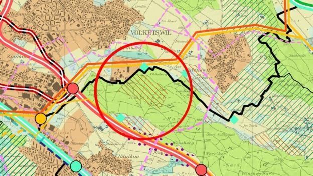 Ausschnitt aus der Karte zum kantonalen Richtplan, rot eingekreist das fragliche Kiesabbaugebiet