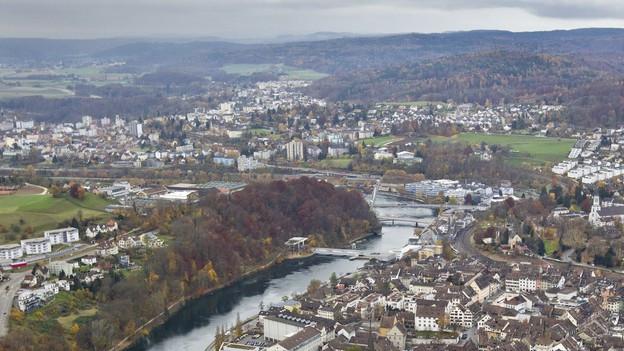 Die Stadt Schaffhausen aus der Vogelperspektive