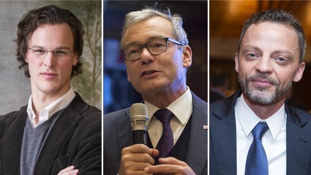 Bastien Girod, Ruedi Noser und Hans-Ueli Vogt (v.l.): Sie wollen Zürcher Ständerat werden.