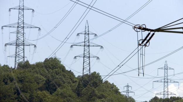 Starkstrommasten mit Stromleitungen, davor Bäume
