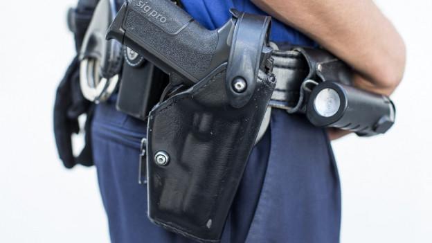 Schusswaffe der Polizei.