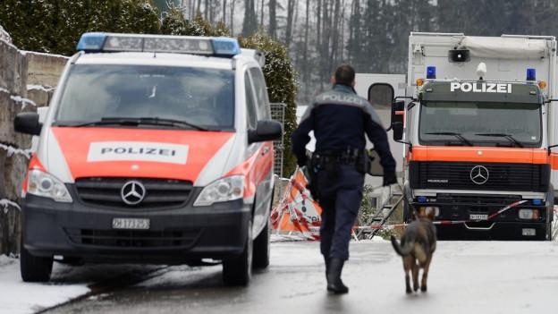 Polizeiautos und ein Polizist mit Hund.