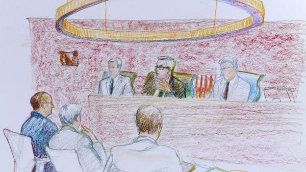 Skizze von sechs Männern an einem Prozess.