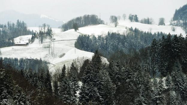 Blick aus der Höhe über verschneide Hügel.