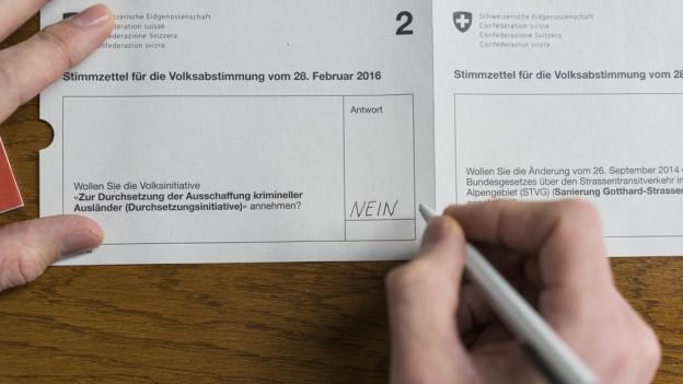 Auch die Durchsetzungsinitiative wurde in Zürich und Schaffhausen abgelehnt.