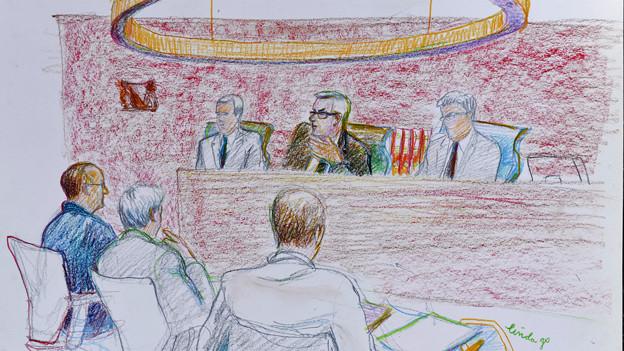 Gerichtszeichnung von der Verhandlung am Zürcher Obergericht