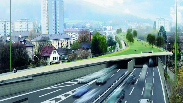 Eine Visualisierung des Schwamendinger Autobahndeckels.